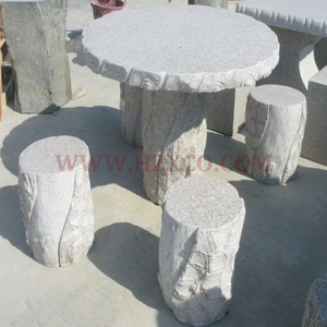 HZX- White Granite Table and Bench
