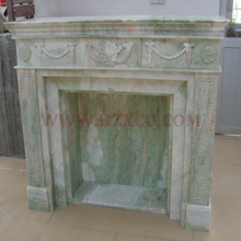 Green and White Fireplace