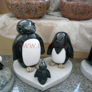 HZX-Black Granite Penguin Sculpture