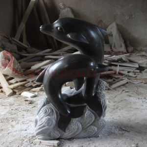 HZX-Black Granite Fish Sculpture